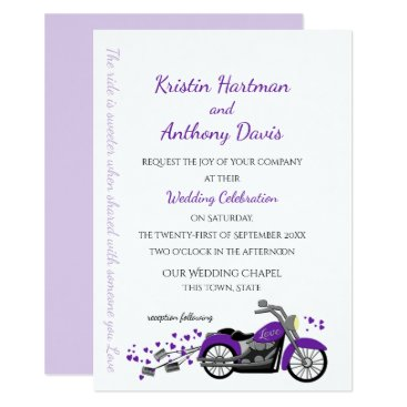 Valentines Themed Purple Motorcycle and Hearts Wedding Card