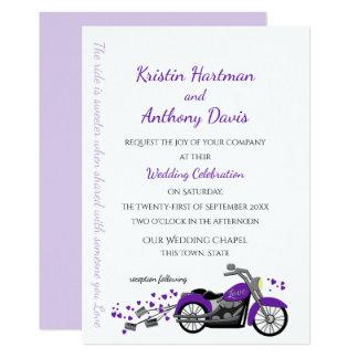 Purple Motorcycle and Hearts Wedding Invitation