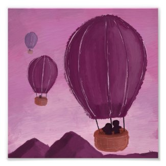 Purple Mountain Hot Air Balloon Ride Photo Print