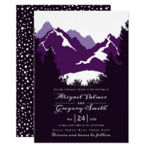 Purple mountains and conifer trees wedding invitation