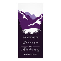 Purple mountains and conifer trees wedding program