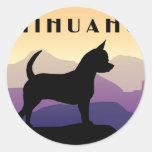 Purple Mountains Chihuahua Round Sticker