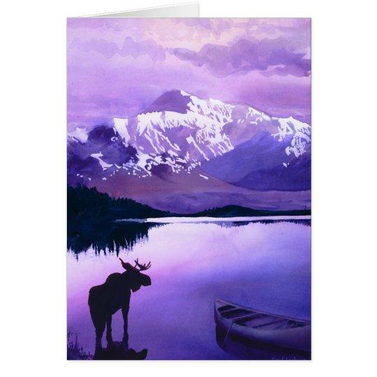 """Purple Mountains Majesty"" Moose Watercolor Card"
