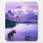"""Purple Mountains Majesty"" Moose Watercolor Mouse Pad"