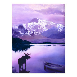 """Purple Mountains Majesty"" Moose Watercolor Postcard"