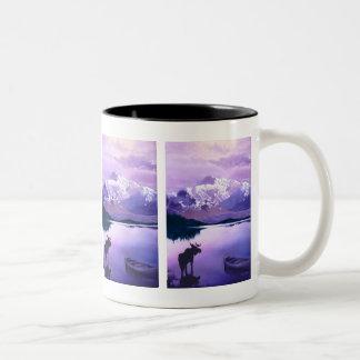 """Purple Mountains Majesty"" Moose Watercolor Two-Tone Coffee Mug"