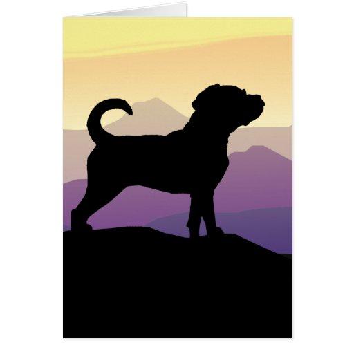 Purple Mountains Puggle Dog Card