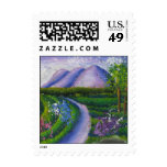 Purple mountains stamp