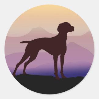Purple Mountains Vizsla Classic Round Sticker