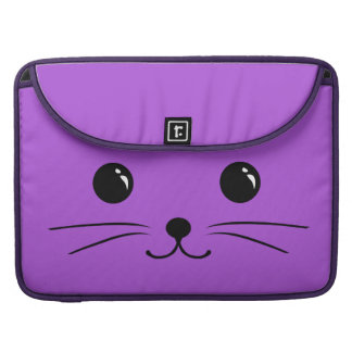Purple Mouse Cute Animal Face Design Sleeves For MacBook Pro