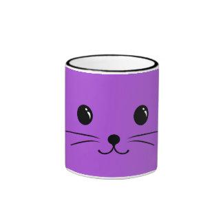 Purple Mouse Cute Animal Face Design Ringer Mug