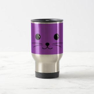 Purple Mouse Cute Animal Face Design Travel Mug