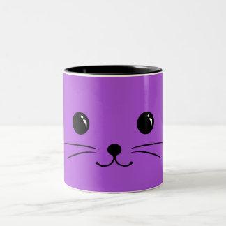 Purple Mouse Cute Animal Face Design Two-Tone Coffee Mug