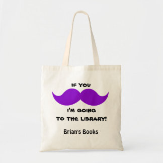 Purple Moustache Library Book Bag, add your name Tote Bag