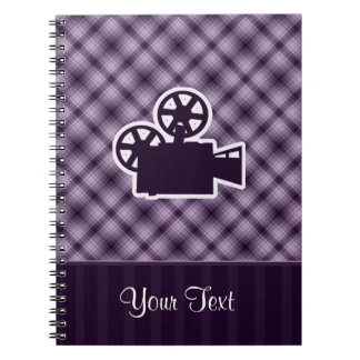 Purple Movie Camera Spiral Notebook