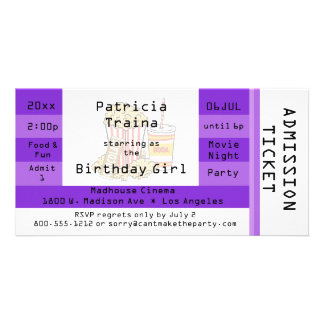 Purple Movie Night Party Admission Ticket Invite Photo Card