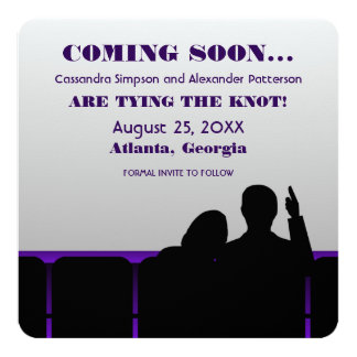 Purple Movie Theater Save the Date Card