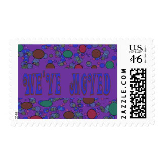 purple moving announcement stamps