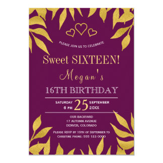 Purple mulberry gold fall leaves sweet sixteen card