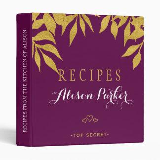Purple mulberry gold foil leaves elegant recipes binder