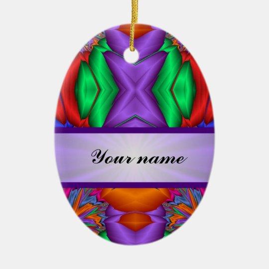 Purple multicolor abstract ceramic ornament