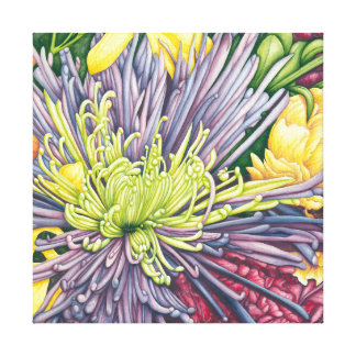 Purple Mum and Daisies 12x12 Canvas Print