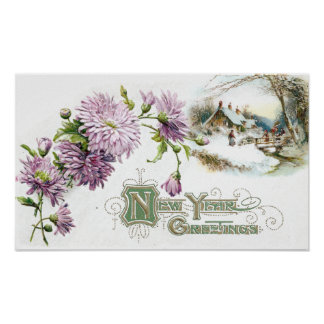 Purple Mums Vintage New Year with Vignette Poster