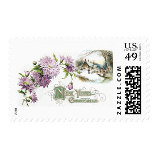 Purple Mums Vintage New Year with Vignette Stamp