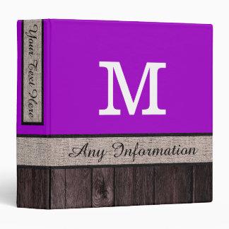 Purple (Munsell) Color Rustic Look Wood Monogram Binder