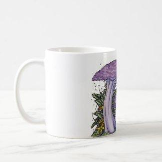 Purple mushroom mug mug