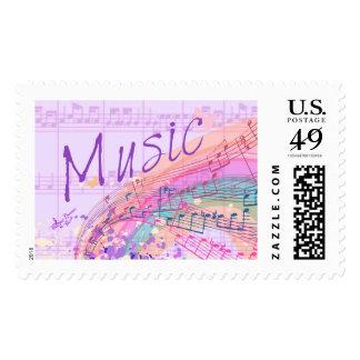 Purple Music Colorsplash Large US Postage Stamps