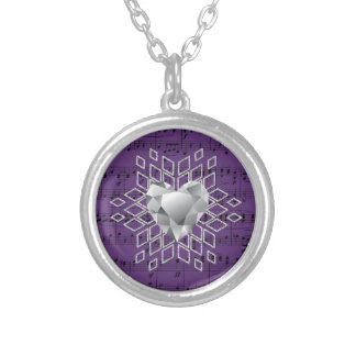 Purple Music Diamond Heart Snowflake Silver Plated Necklace