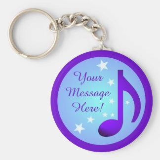 Purple Music Note Blue Circle Stars Customizable Keychain