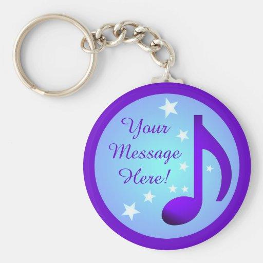 Purple Music Note Blue Circle Stars Customizable Keychains