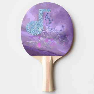 Purple Music Notes Abstract Pink Pong Paddle