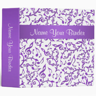 Purple Music Notes On Any Color Binder