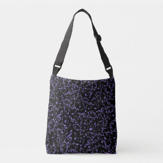 Purple Music Notes Pattern on Black Tote Bag