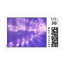 Purple Music Notes Postage Stamps