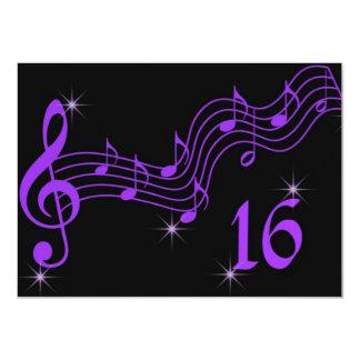 Purple Music Notes Sweet Sixteen Invitation Custom Invitation