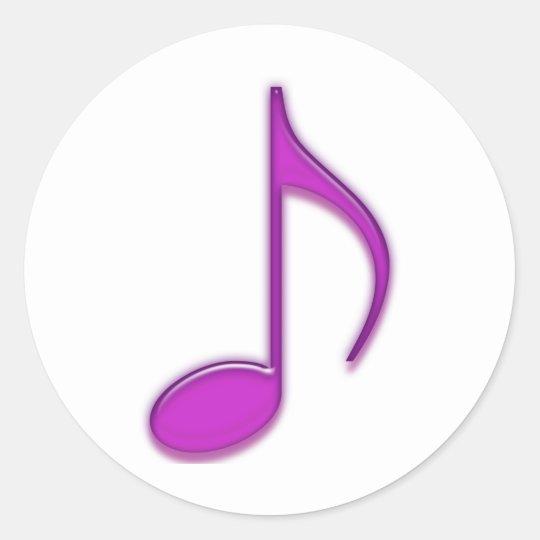 Purple Musical Emboss 8th Note Classic Round Sticker