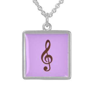 Purple Musical Note Square Pendant Necklace