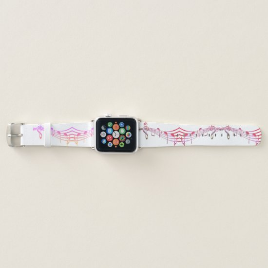 Purple Musical Staff on White Apple Watch Band