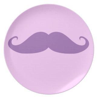 Purple Mustache Dinner Plate