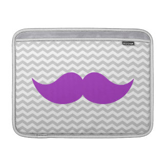 Purple Mustache Gray Chevron Zigzag Stripe MacBook Sleeve
