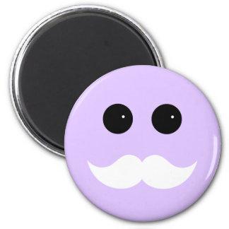Purple Mustache Smiley Emoticon 2 Inch Round Magnet