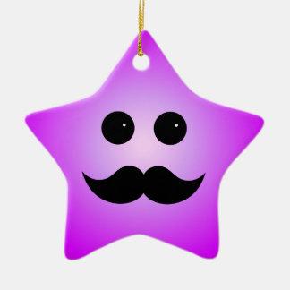 Purple Mustache Smiley Emoticon Ceramic Ornament