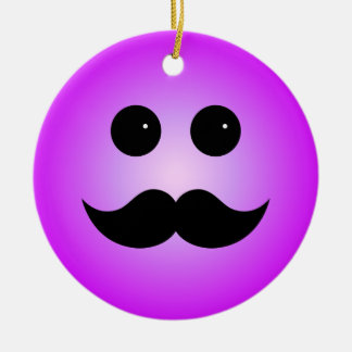 Purple Mustache Smiley Emoticon Christmas Ornaments