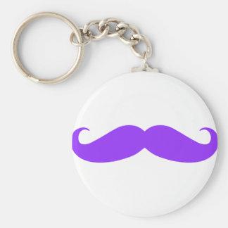 Purple Mustache Stache Keychain