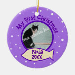 Purple My First Christmas Custom Photo Name Cat Christmas Tree Ornament