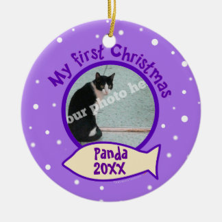 Purple My First Christmas Custom Photo Name Cat Double-Sided Ceramic Round Christmas Ornament